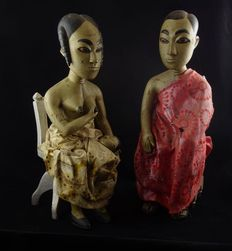 Large couple fertility statues - FANTE - Ghana