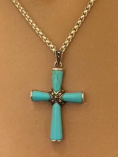 Silver cross pendant with turquoise inlay on jasseron necklace