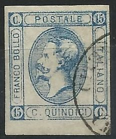 Italy, Kingdom – 15 cents lithographic (No. 13e) with partial double impression
