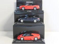 Minichamps - Scale 1/43 - Lot with 3 cabriolet models: Bentley, BMW & Lamborghini