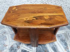 French art deco coffee table made of inlaid  wood, with two shelves, signed bottom left GUY
