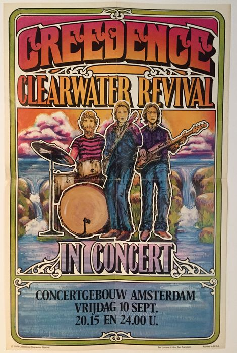 An original Creedence Clearwater Revival concert poster - printed by the famous Tea Lautrec Litho of San Francisco