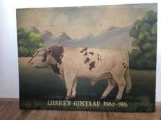 Bull painted on a wooden panel, belonging to a farm, 2nd half of 20th century,