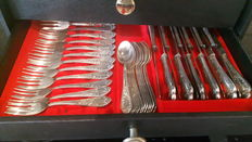 "Heavy silver-plated silverware / cutlery 84-pieces + 3 serving pieces marked ""SILBER 100"" in suitcase model LOUIS 15 (XV)."