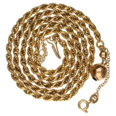 Yellow gold rope link necklace in 14 kt - 51 cm