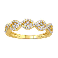 No reserve price, brand new 0.49ct round brilliant diamond eternity/dress ring set in 18kt yellow gold. G/H colour and Pique clarity. Size O (free resizing in Antwerp)