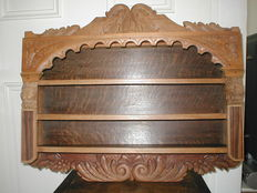 Antique solid oak wall cabinet, spice cabinet, dish cabinet with beautiful wood carvings