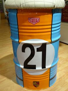 Porsche Gulf Heuer airbrushed LeMans no.21 theme real 60 litres Oil barrel seat