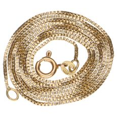 Yellow gold Venetian link necklace in 14 kt, length: 50 cm
