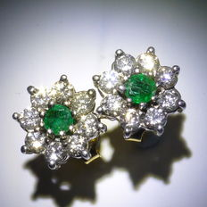 14kt Emerald & Diamond Ear Studs - Diameter: 11 mm