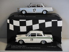 Minichamps - Scale 1/43 - Lot with 2 classic sports car models: BMW 2000 Ti & Lotus Cortina