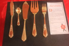 Fish cutlery-SBS-Solingen 38 pieces, fully gold plated, 23/24 carat, mint condition