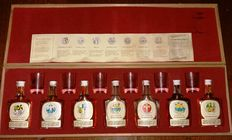 Stanley P. Morrison Ltd - How to blend your own whisky - 70s - 7 Full Strenght Scotch Malt miniatures - 6 Tasting Glasses