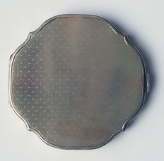 Silver powder box, 20th century, with fold-out lid