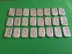 U.S.A - 24 cast silver bars, 24 x 1 oz .999, Atlantis Mint, Skull and Crossbones