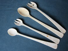 A set of 4 ivory serving cutlery - Dieppe, France, ca. 1920