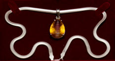 Silver 925 - Necklace with Citrine pendant - 20.93g - Size: 45cm long -