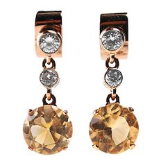 Citrine, Diamond, Gold Earrings 4607