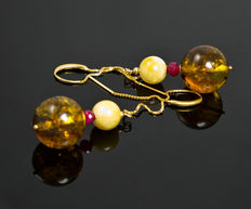 Genuine Baltic amber creamy yellow and golden colours, earrings with facetted rubies