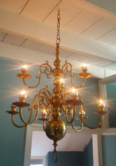 Large - heavy candles chandelier with nine arms - brass - Netherlands - mid 20th century