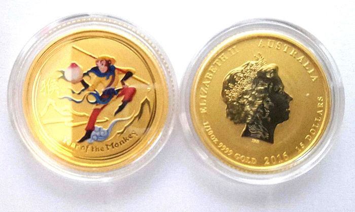 Australia - 15 Dollar 2016 'Year of the Monkey / Monkey King' - 1/10 oz gold
