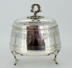 Antique Solid Silver Tea Caddy, Austria-Hungary, 1886-1922