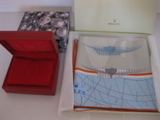 Rolex set: Rolex silk foulard and soft red leather box (14.00.08) - New