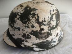 German helmet-M-35-WW2. Winter camouflage