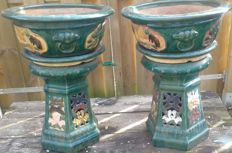 19th century pair of 3 piece majolica jardinieres