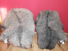 2 large real sheepskins lambskins grey-black