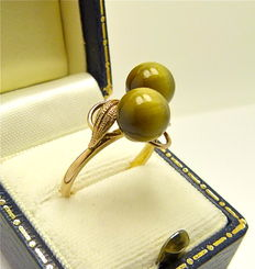 """Solid 14kt gold antique """"Cat's eye's with bow"""" ring designed by artist"""
