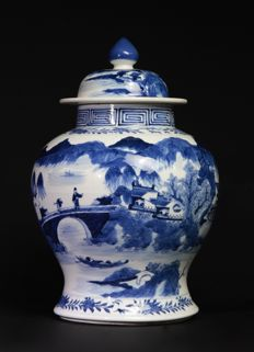 Blue and White Jar Kangxi Marked - China - 19th Century.
