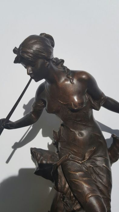 Edouard Drouot (1859-1945) - Bronze sculpture titled 'Le Chant du Ruisseau' - France - approx. 1900