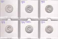 The Netherlands - ½ guilder 1921/1930 (6 different coins), complete