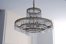 Chandelier set with crystals, late 20th century