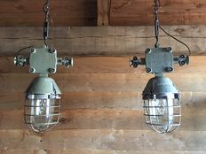 Unknown designer - Large, rugged industrial lamp (2x)