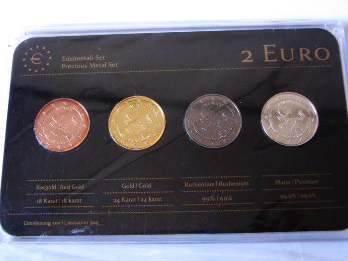 Monaco - 2 Euro '20 Year of Admission to UN' 2013 (4 different coins) - Precious Metal Set