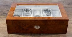 Light Burr Walnut Wood Finish Watch Box - in new condition