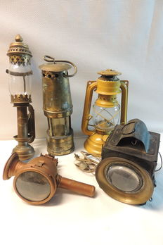 Five different antique lamps, first half of the 20th century, Belgium.