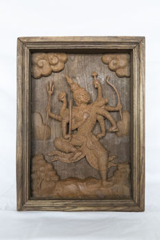 Vishnu in frame, carved out of wood - Thailand - mid 20th century