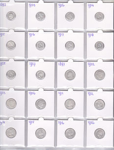 The Netherlands – 10 cents 1897/1927 (10 coins) and 25 cents 1897/1926 (10 coins)