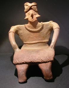 Pre Colombiaans Groot terracotta Colima figuur - 17 cm - Ex Sotheby's