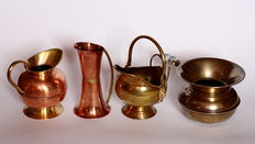 Vintage copper & brass jugs and gravy boat - 4 items