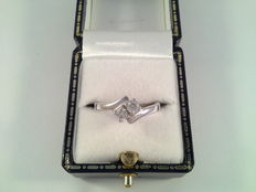 18 kt white gold ring with diamond, 0.30 ct, ring size 16.50/52