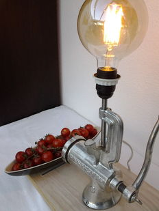 Industrial steampunk -Sfinx meat mincer (with stop pipe),lamp light (cooldrate) and candy fruit  bowl.