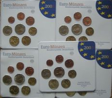 Germany – Year pack 2003A, D, F, G, J (five pieces)