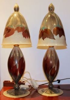 A pair of Vera Walther glass lamps in Art Nouveau style, Germany, late 20th century
