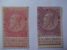 Belgium 1893 - Selection of  Leopold II - COB 64 and 66