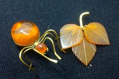 Two  gold plating amber brooches  of Baltic amber
