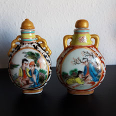 Oriental erotica; 2 snuff bottles - late 20th century